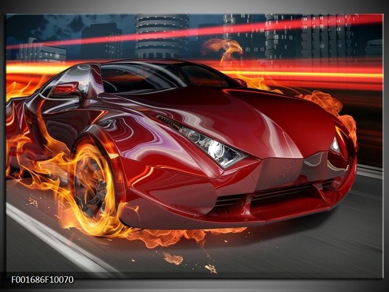 Foto canvas schilderij Auto | Rood, Zwart, Oranje