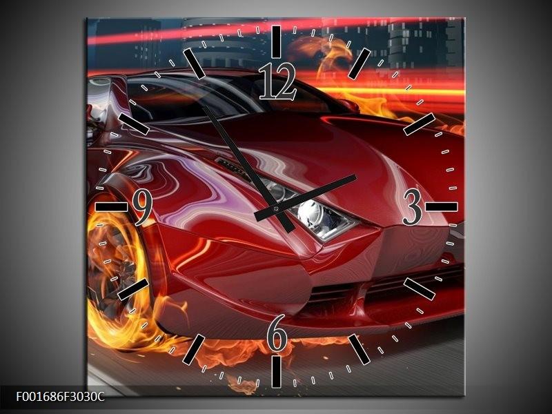 Wandklok op Canvas Auto | Kleur: Rood, Zwart, Oranje | F001686C
