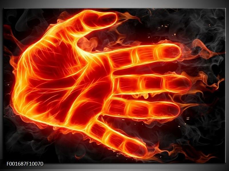 Foto canvas schilderij Hand   Oranje, Geel, Zwart