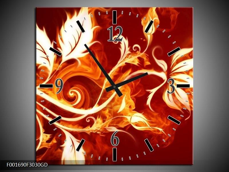 Wandklok op Glas Bloem   Kleur: Goud, Rood, Geel   F001690CGD