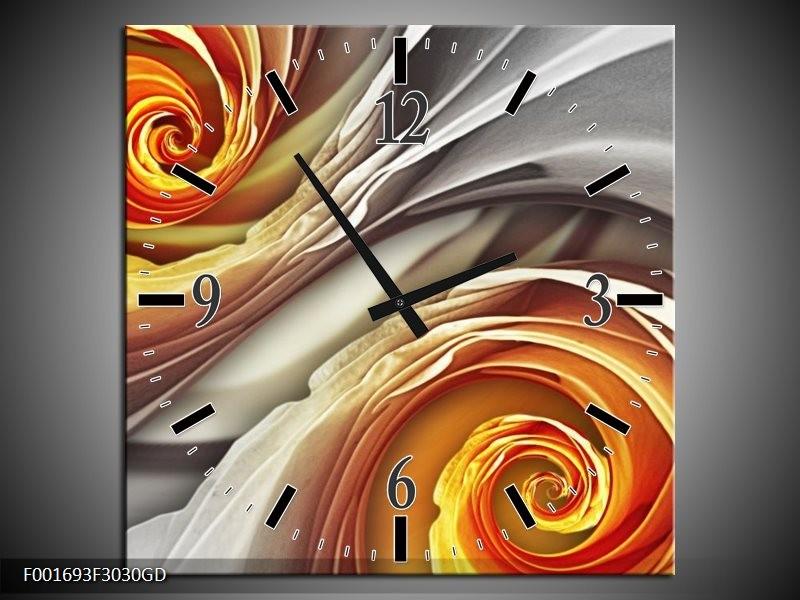 Wandklok op Glas Roos | Kleur: Grijs, Geel | F001693CGD