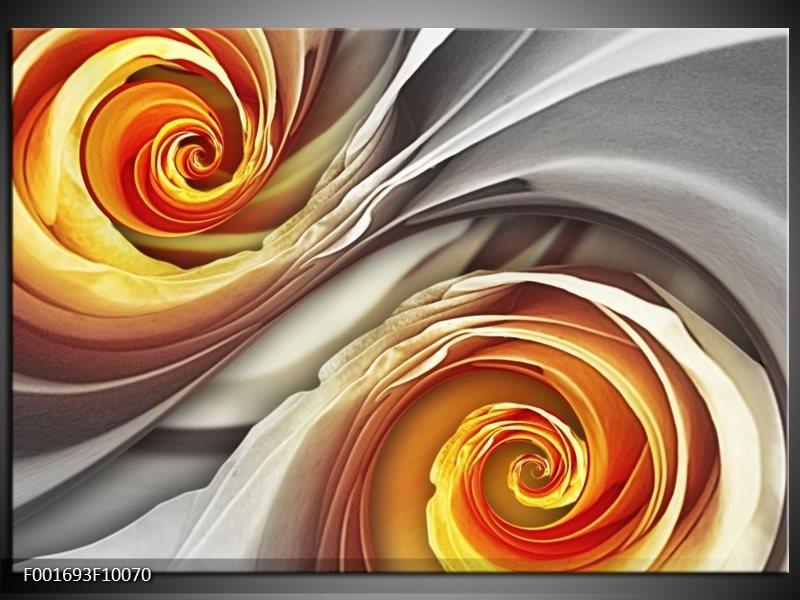 Glas schilderij Roos   Grijs, Geel
