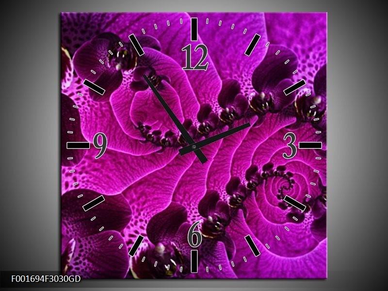 Wandklok op Glas Bloem | Kleur: Paars, Zwart | F001694CGD