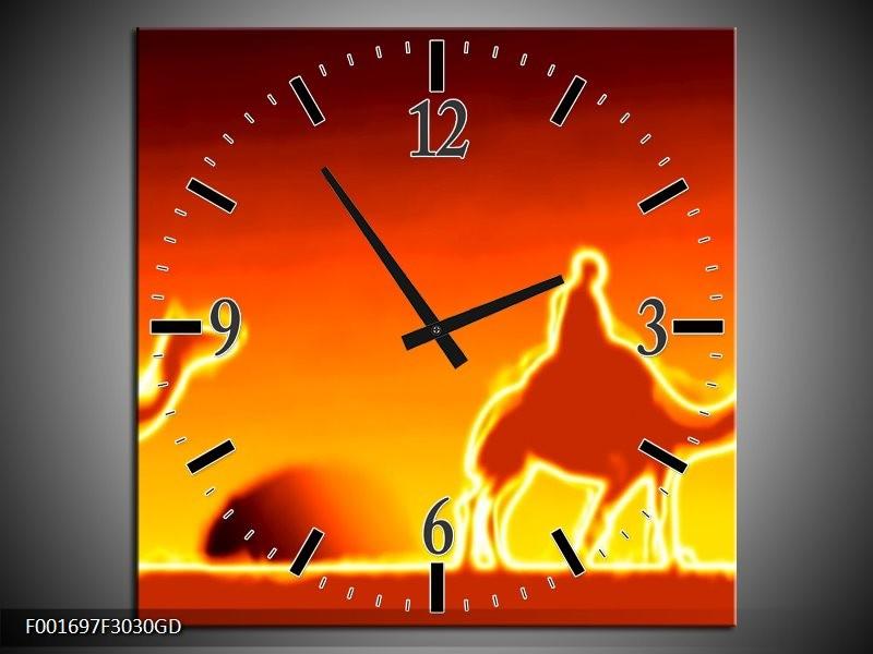 Wandklok op Glas Kameel | Kleur: Geel, Oranje, Rood | F001697CGD