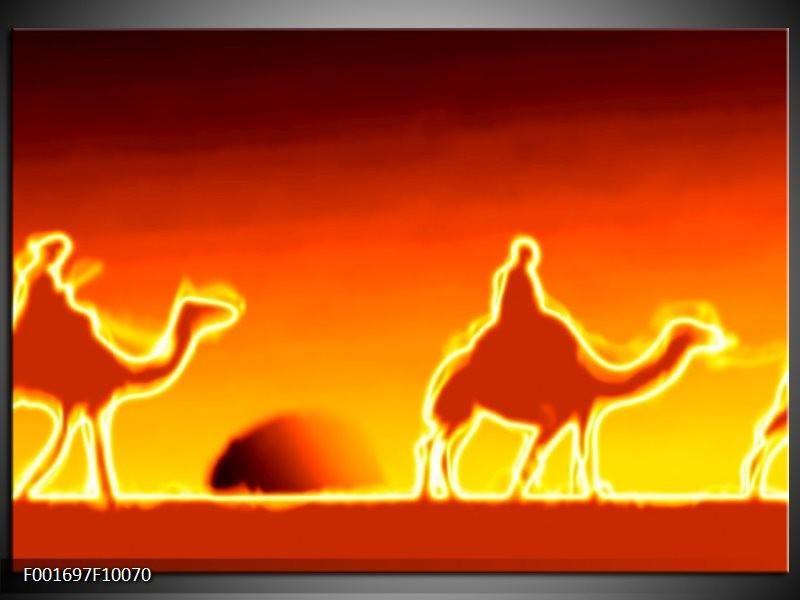 Glas schilderij Kameel   Geel, Oranje, Rood