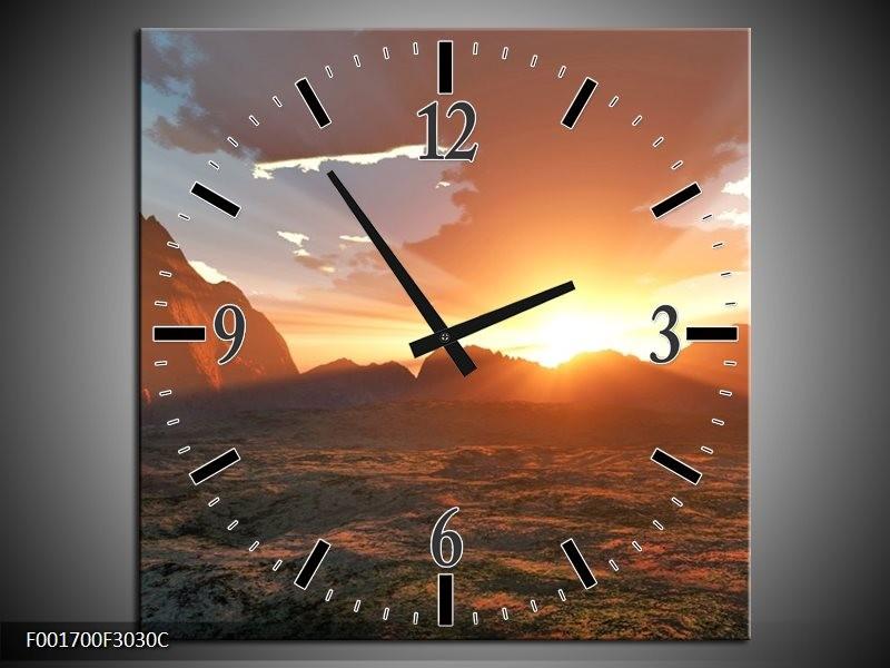 Wandklok op Canvas Zonsondergang | Kleur: Geel, Bruin, Wit | F001700C