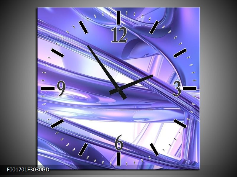 Wandklok op Glas Abstract | Kleur: Blauw, Wit, Paars | F001701CGD