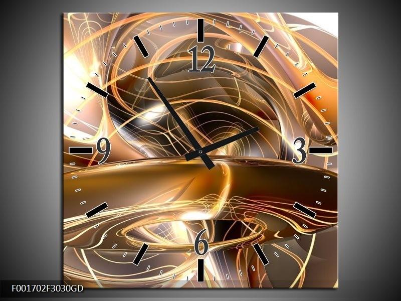 Wandklok op Glas Abstract   Kleur: Goud, Wit, Bruin   F001702CGD