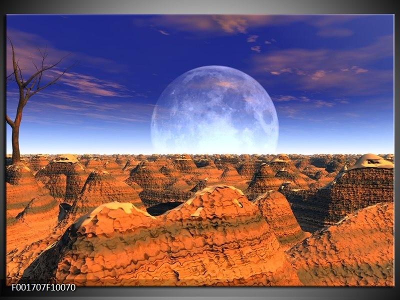 Glas schilderij Natuur   Bruin, Blauw, Wit