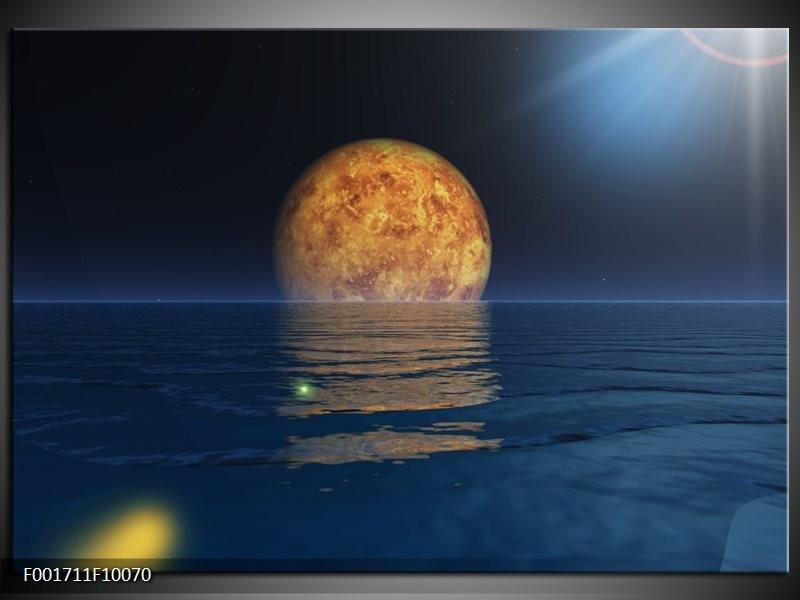 Foto canvas schilderij Maan | Blauw, Bruin