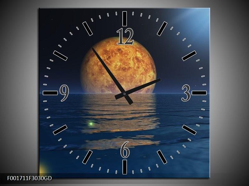 Wandklok op Glas Maan   Kleur: Blauw, Bruin   F001711CGD