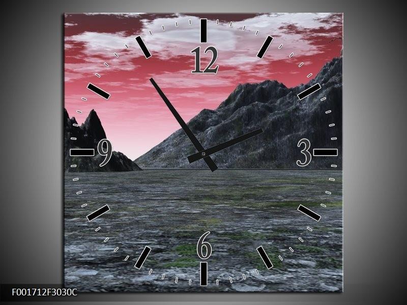 Wandklok op Canvas Bergen | Kleur: Grijs, Paars, Wit | F001712C