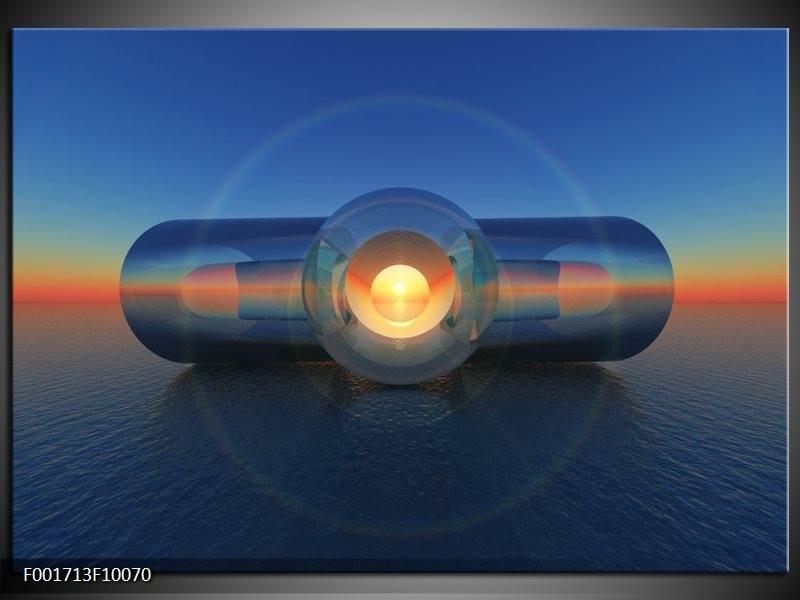 Glas schilderij Abstract | Blauw, Geel