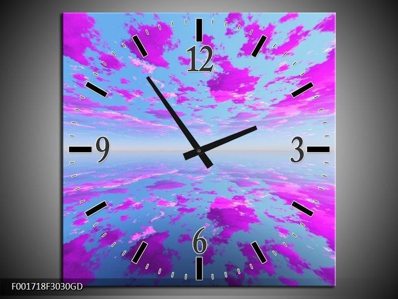 Wandklok op Glas Abstract | Kleur: Paars, Grijs | F001718CGD