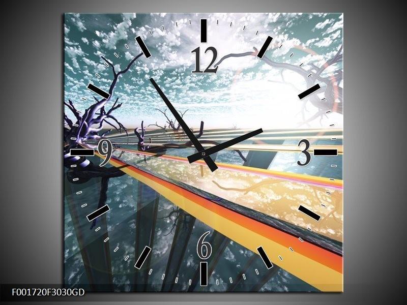 Wandklok op Glas Abstract | Kleur: Geel, Grijs, Blauw | F001720CGD