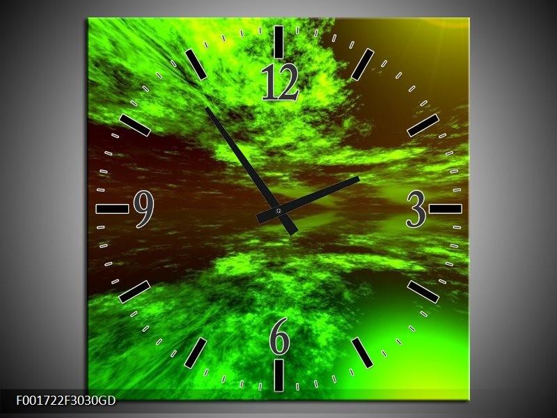 Wandklok op Glas Abstract   Kleur: Groen, Zwart   F001722CGD