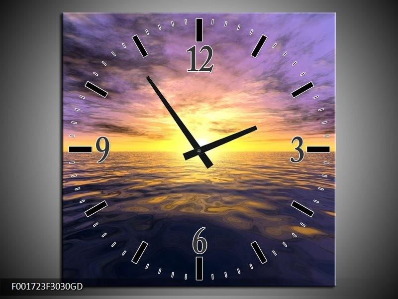 Wandklok op Glas Zonsondergang | Kleur: Geel, Paars, Blauw | F001723CGD