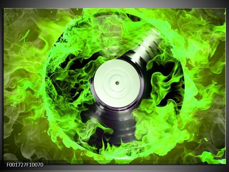 Glas schilderij Muziek | Groen, Zwart