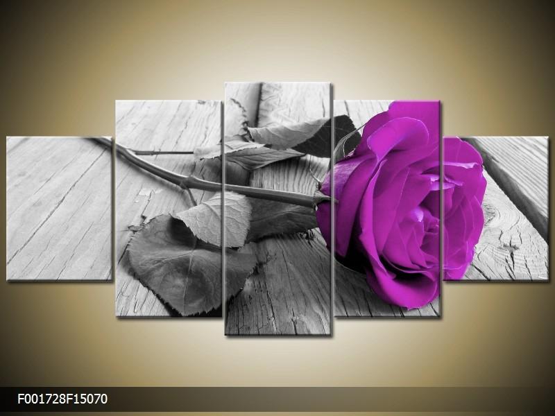 Canvas schilderij Roos | Paars, Grijs | 150x70cm 5Luik