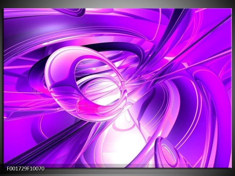 Glas schilderij Abstract | Paars, Wit