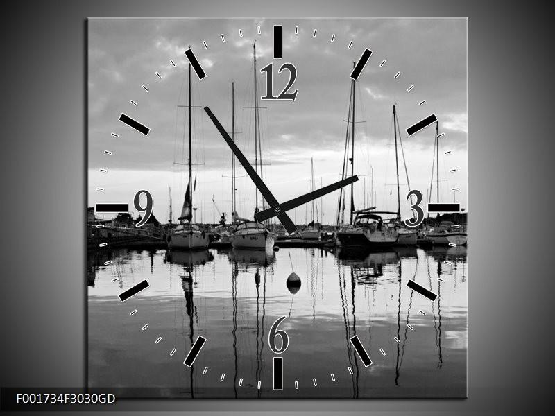 Wandklok op Glas Boot | Kleur: Grijs, Zwart, Wit | F001734CGD