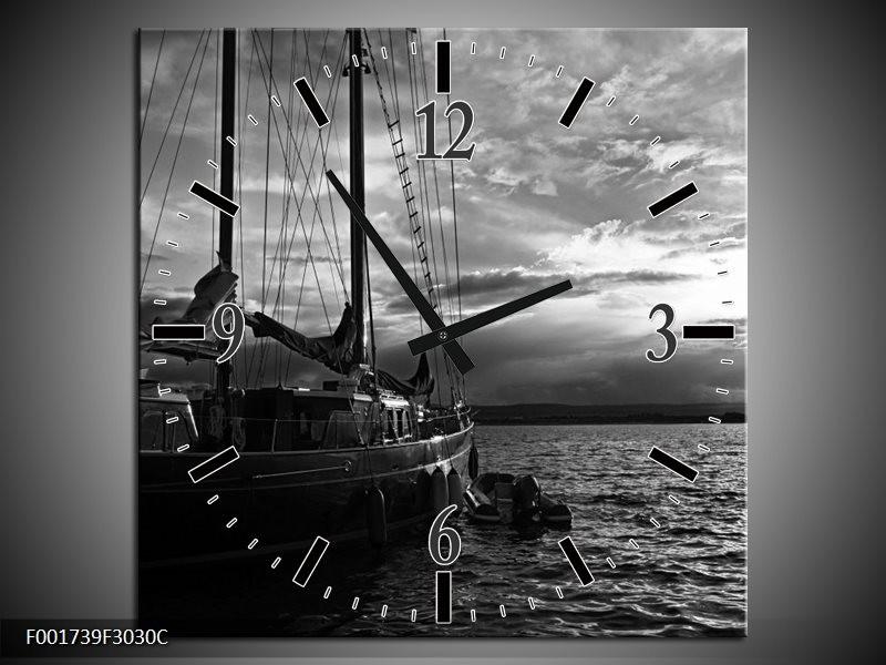 Wandklok op Canvas Boot | Kleur: Grijs, Zwart, Wit | F001739C