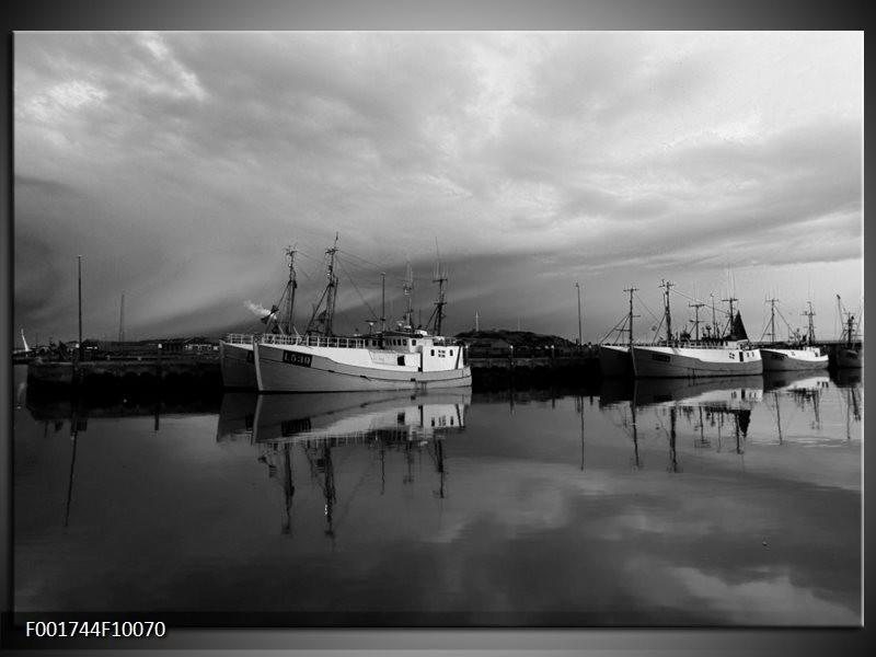 Foto canvas schilderij Boot   Grijs, Zwart, Wit