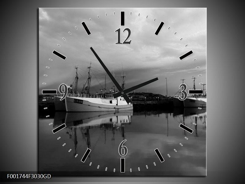 Wandklok op Glas Boot   Kleur: Grijs, Zwart, Wit   F001744CGD