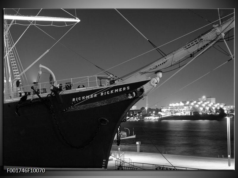 Foto canvas schilderij Boot | Grijs, Zwart, Wit