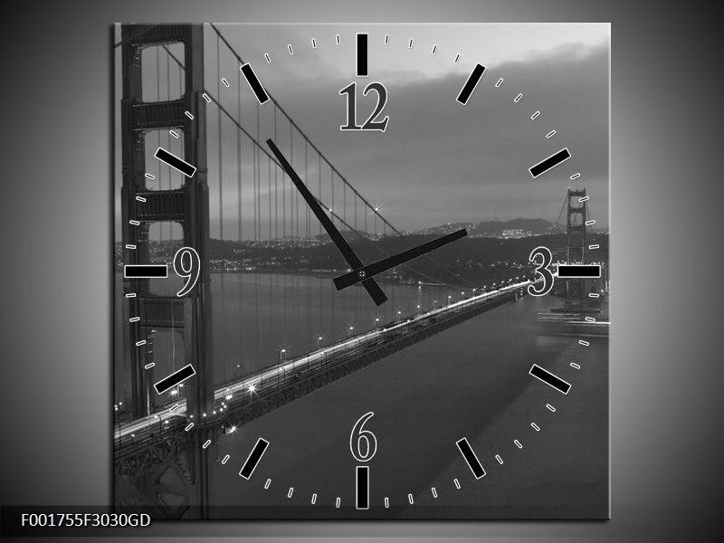Wandklok op Glas Brug | Kleur: Grijs, Zwart, Wit | F001755CGD