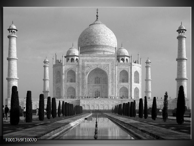 Foto canvas schilderij Taj Mahal | Grijs, Zwart, Wit