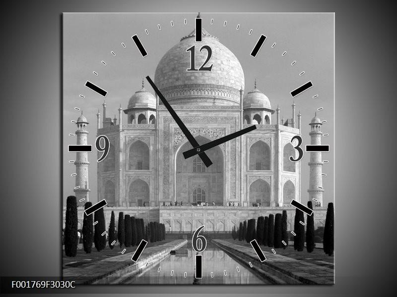 Wandklok op Canvas Taj Mahal | Kleur: Grijs, Zwart, Wit | F001769C