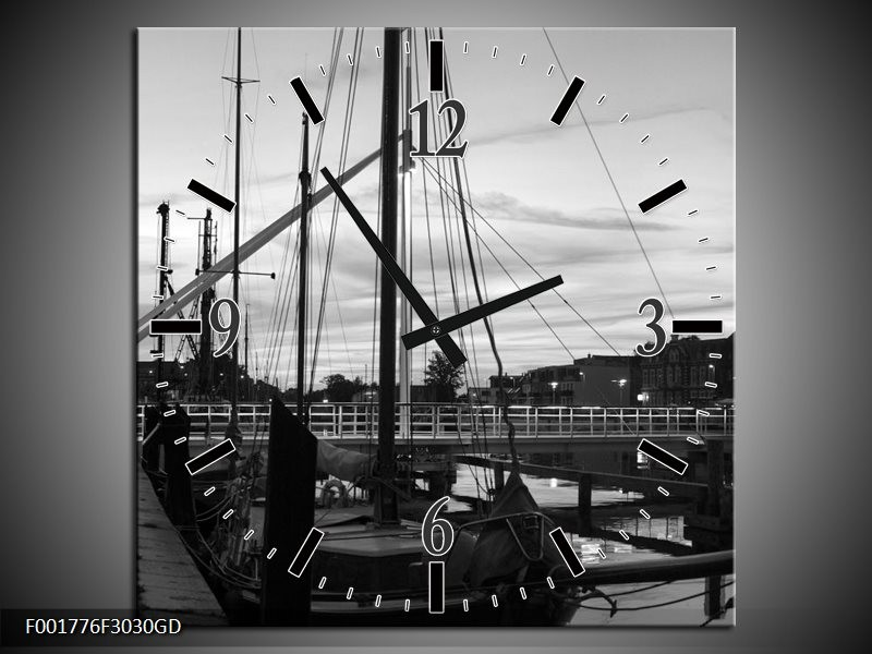 Wandklok op Glas Boot | Kleur: Grijs, Zwart, Wit | F001776CGD