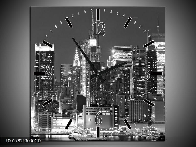 Wandklok op Glas New York | Kleur: Grijs, Zwart, Wit | F001782CGD