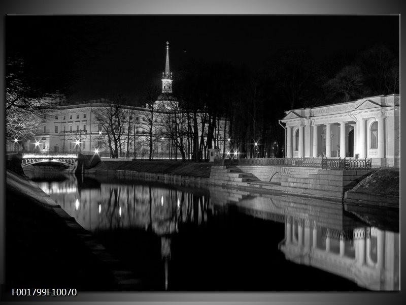 Foto canvas schilderij Stad   Grijs, Zwart, Wit