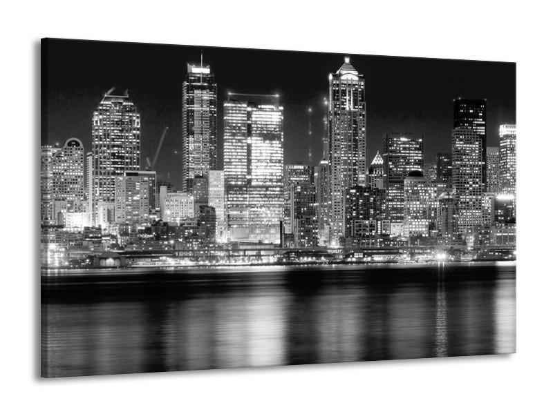 Canvas schilderij New York   Grijs, Zwart, Wit   140x90cm 1Luik