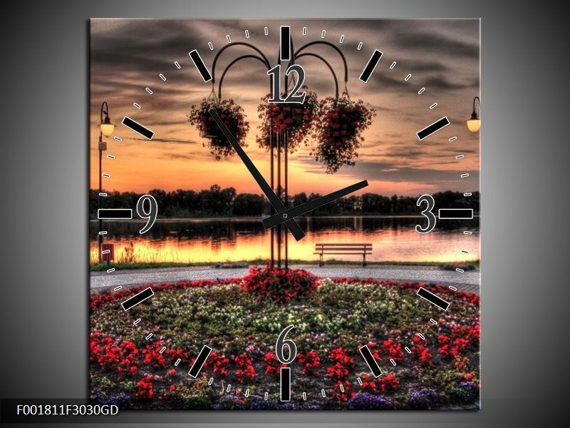 Wandklok op Glas Bloemen   Kleur: Rood, Zwart, Geel   F001811CGD