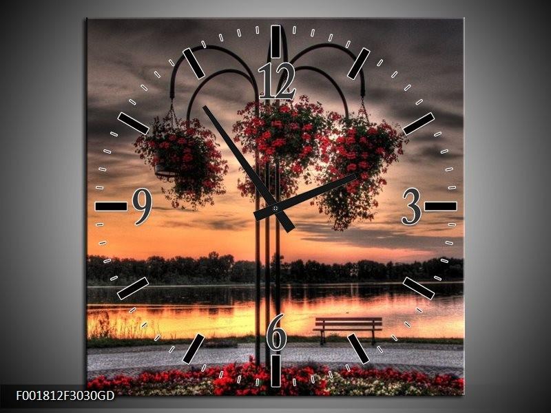 Wandklok op Glas Bloemen | Kleur: Rood, Zwart, Geel | F001812CGD