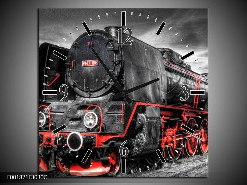 Wandklok op Canvas Trein   Kleur: Zwart, Rood, Wit   F001821C
