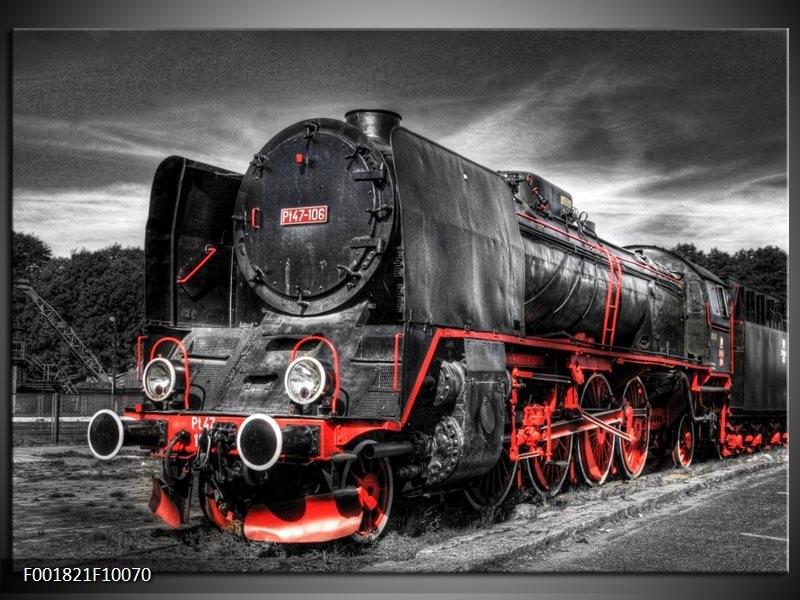 Glas schilderij Trein | Zwart, Rood, Wit