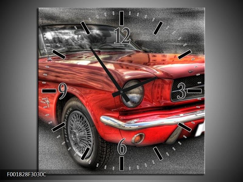 Wandklok op Canvas Mustang | Kleur: Rood, Zwart | F001828C