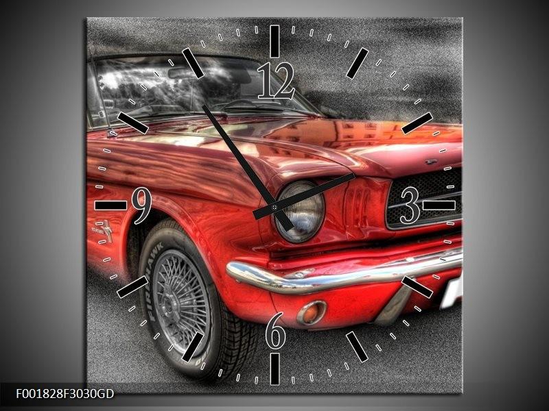 Wandklok op Glas Mustang   Kleur: Rood, Zwart   F001828CGD
