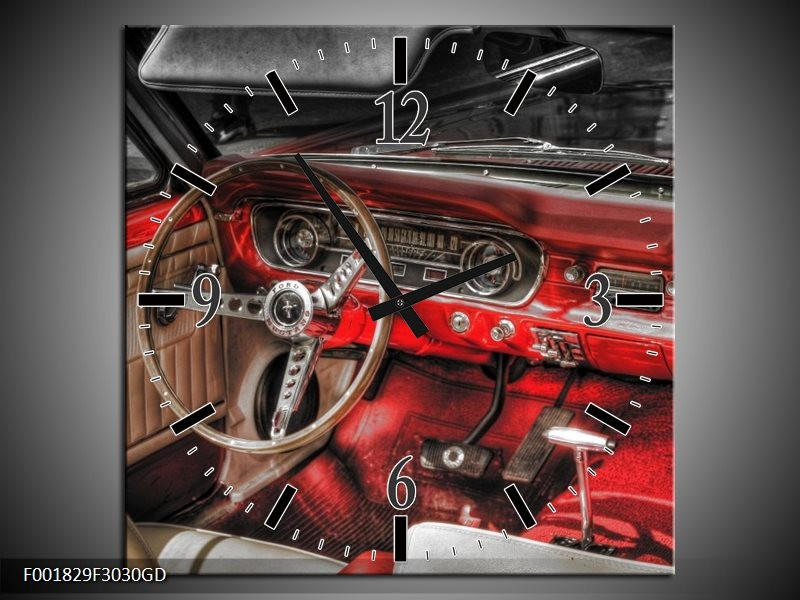 Wandklok op Glas Mustang   Kleur: Rood, Zwart   F001829CGD