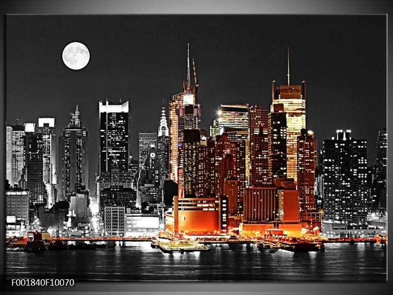 Foto canvas schilderij Nacht | Oranje, Zwart, Grijs