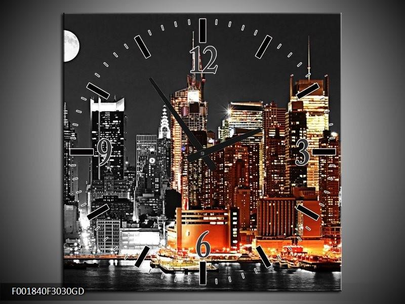 Wandklok op Glas Nacht   Kleur: Oranje, Zwart, Grijs   F001840CGD