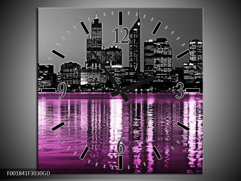 Wandklok op Glas New York | Kleur: Zwart, Wit, Paars | F001841CGD