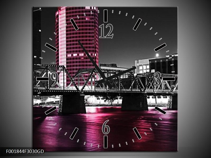 Wandklok op Glas Brug | Kleur: Zwart, Wit, Roze | F001844CGD