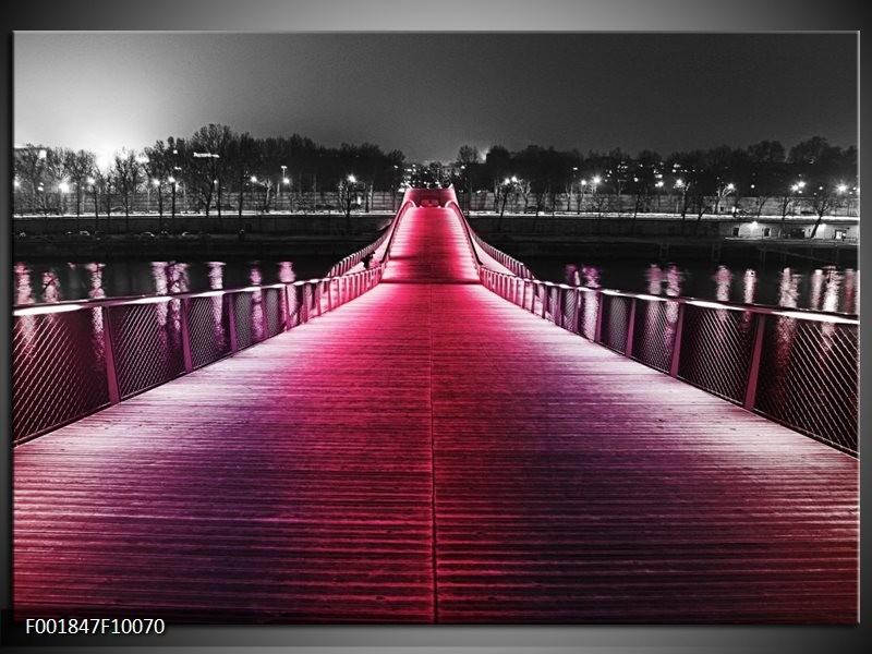 Foto canvas schilderij Brug | Roze, Zwart