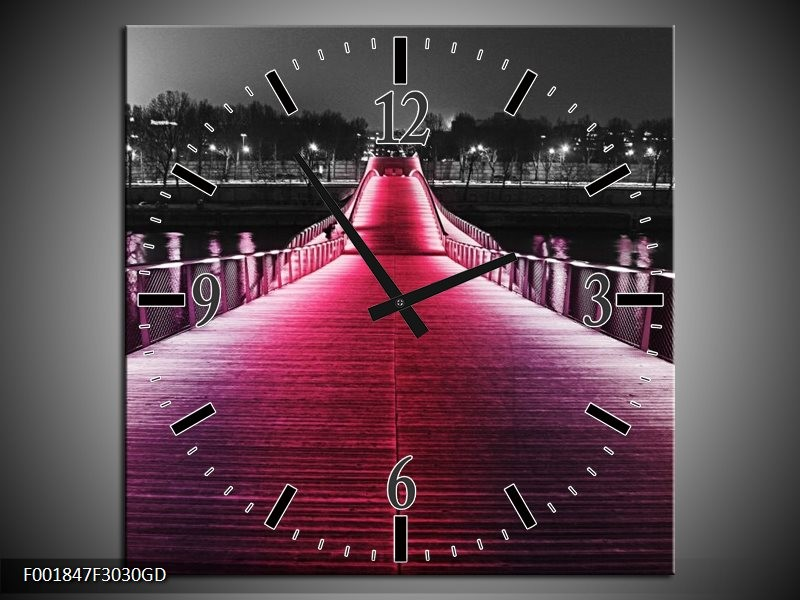 Wandklok op Glas Brug | Kleur: Roze, Zwart | F001847CGD