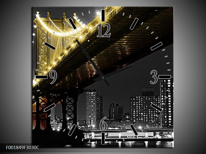 Wandklok op Canvas Brug | Kleur: Zwart, Wit, Geel | F001849C